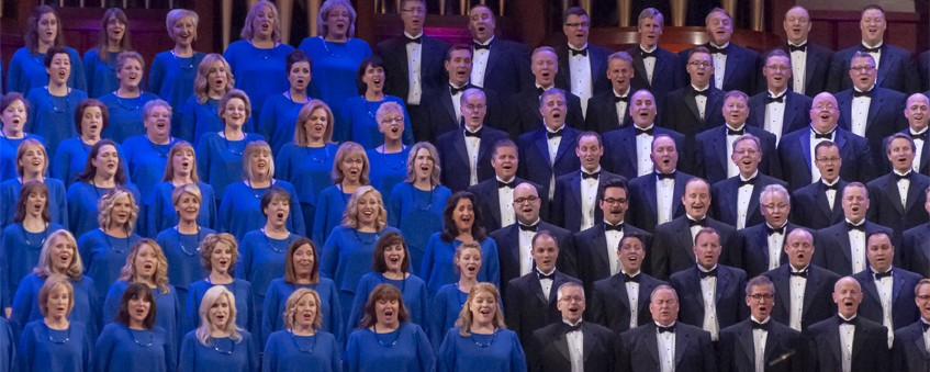 The Tabernacle Choir and Orchestra performing in the Salt Lake Tabernacle in April 2019.